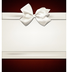 Gift card with white bow vector image vector image