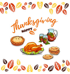 Greeting card happy thanksgiving vector