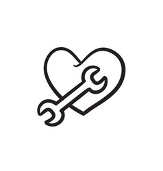 Heart with wrench sketch icon vector