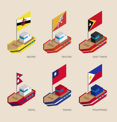 Isometric 3d ships with flags of asian countries vector