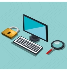 isometric desktop computer with isolated icon vector image