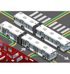 Isometric long bus in front view vector