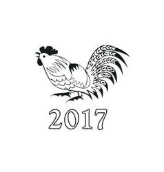 Monochrome cock in a folk style vector
