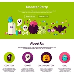 Monster party web design template vector