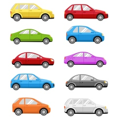 Multicolored Cars Collection Isolated on White vector image