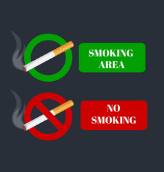 no smoking and smoking area labels with tobacco vector image
