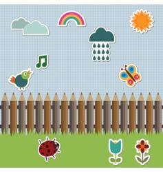 pencil fence with stickers vector image vector image