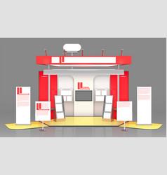 red exhibit display case design vector image