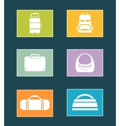 set colorful icons with bags vector image