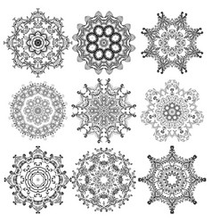 Set of round lace pattern vector