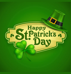 St patrick day green poster vector