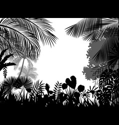 Tropical silhouette background beautiful vector