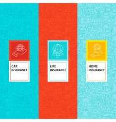 Line Insurance Patterns Set vector image