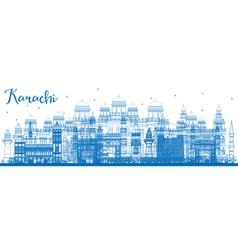 Outline karachi skyline with blue landmarks vector