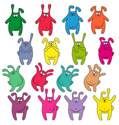 Sixteen thick funny rabbits vector