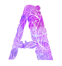 Coloring freehand drawing capital letter a vector