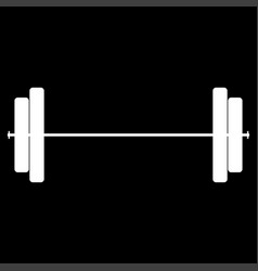 barbell the white color icon vector image