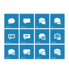 Message bubble icons on blue background vector