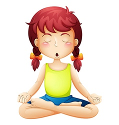 A little girl doing yoga vector