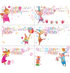 Set of Happy Birthday cards vector image