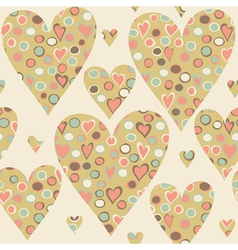 Cartoon hearts and circles seamless pattern vector