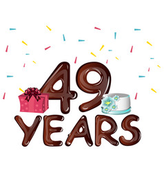 49th years greeting card with gift vector image vector image