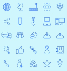 Network line icons on blue background vector