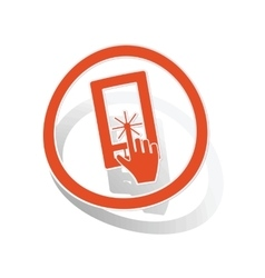 Touchscreen sign sticker orange vector