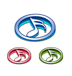 3d glossy music notes icon vector