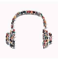 Group people shape headphones vector