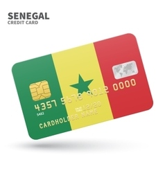 Credit card with senegal flag background for bank vector