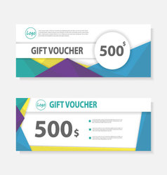 Colorful gift voucher template layout design set vector