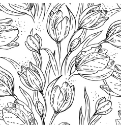 Floral seamless pattern with tulips vector