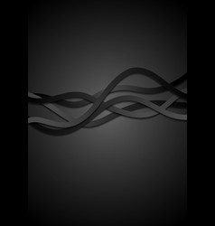 Abstract black corporate waves background vector