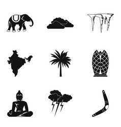 African exotic icons set simple style vector