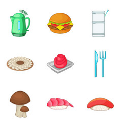 bakery product icons set cartoon style vector image vector image