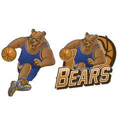 Bear cartoon basketball mascot vector