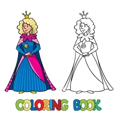 Beauty fairy queen or princess coloring book vector