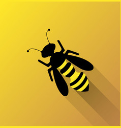 bee on yellow background vector image