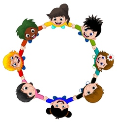 Circle of happy children of different races vector