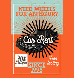 Color vintage car rent banner vector