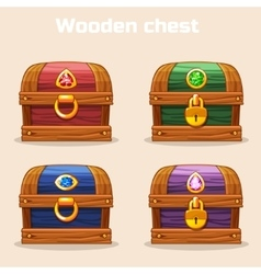 colorful vintage wooden chest with diamonds vector image vector image