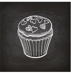Cupcake sketch on chalkboard vector
