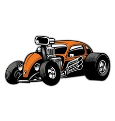 custom hotrod car with big engine vector image vector image
