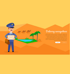Delivery everywhere web banner with postman vector
