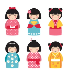 Dolls in japanese style vector