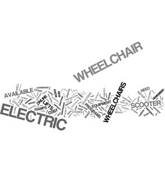Electric wheelchair and scooter reviews text vector