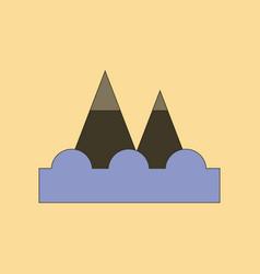 Flat icon stylish background tsunami mountains vector