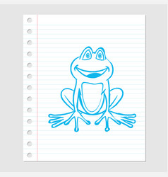 frog cartoon on paper sheet - vector image