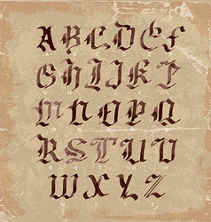 Hand drawn letters gothic style alphabet on vector image